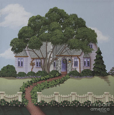 Stone Cottage Painting - Dragonfly Cottage by Catherine Holman