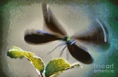Odonata Painting - Dragonfly In Flight by George Atsametakis