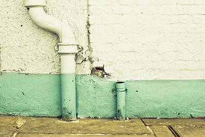 Brick Building Photograph - Drainpipe by Tom Gowanlock