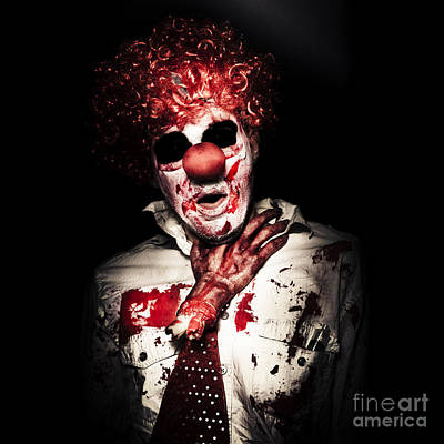 Photograph - Dramatic Sinister Clown Getting Strangled By Hand by Jorgo Photography - Wall Art Gallery