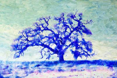 Oak Mixed Media - Dreamtime Oak Tree Art In Blue by Priya Ghose