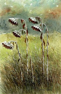 Sunflower Patch Painting - Dried Up Sunflower Patch by Steven Schultz