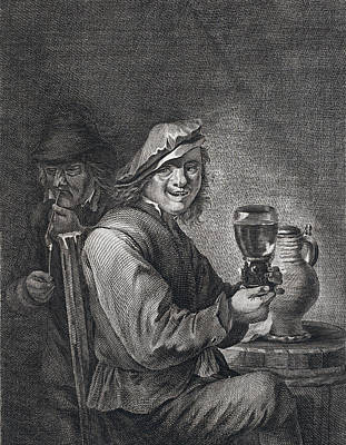 Archives Drawing - Drinking And Smoking, Man, Glas, Jug, Pipe, Pipe, Barrel by Belgian School