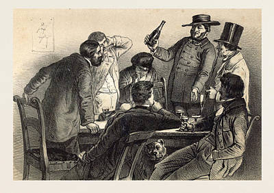 Drinking The Bottles In Germany, 19th Century Lithography Print by German School