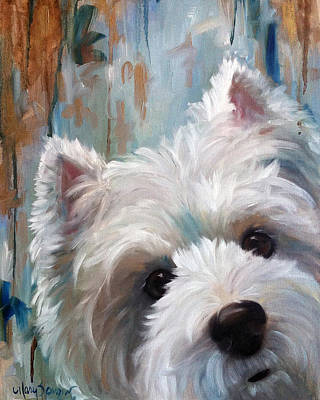 Westie Terrier Painting - Drip by Mary Sparrow