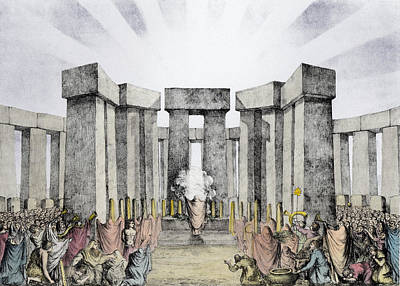 Druids Sacrificing To The Sun Print by Nathaniel Whittock