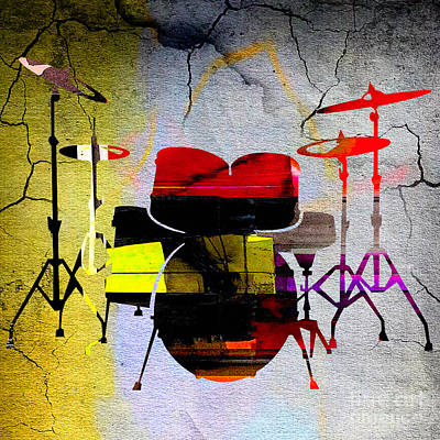 Music Mixed Media - Drums by Marvin Blaine