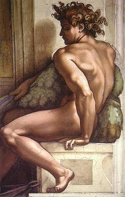 Drunkenness Of Noah - Ignudo Detail Art Print by Michelangelo Buonarroti