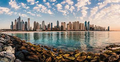 Dubai - Marina Skyline Panorama Print by Jean Claude Castor