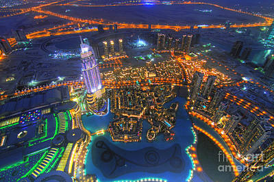 Dubai At Night Art Print