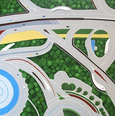 Built Structure Painting - Dubai Roadways by Toni Silber-Delerive