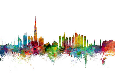 Urban Watercolor Digital Art - Dubai Skyline by Michael Tompsett