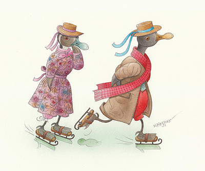 Violet Drawing - Ducks On Skates 15 by Kestutis Kasparavicius