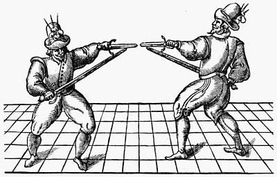 Versus Drawing - Dueling, 1595 by Granger