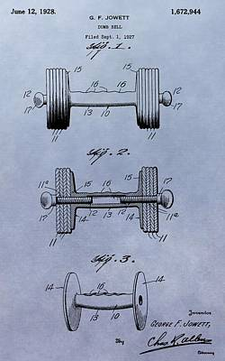 Athletic Digital Art - Dumbbell Patent by Dan Sproul