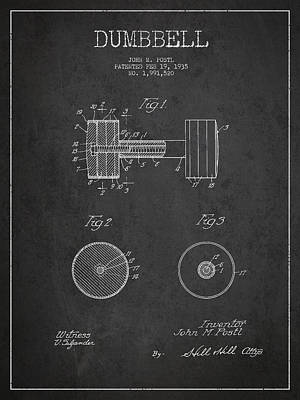 Digital Art - Dumbbell Patent Drawing From 1935 by Aged Pixel