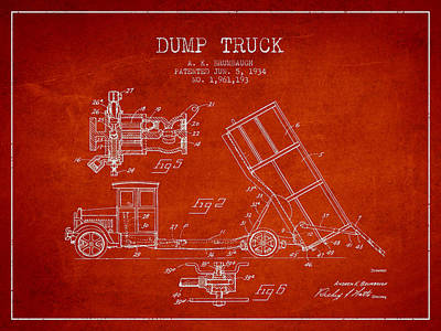 Machinery Digital Art - Dump Truck Patent Drawing From 1934 by Aged Pixel