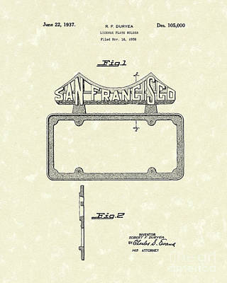 San Francisco Drawing - Duryea License Holder 1937 Patent Art by Prior Art Design