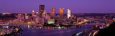 Downtown Pittsburgh Photograph - Dusk Pittsburgh Pa Usa by Panoramic Images