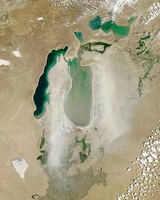 Dust Storm Over The Aral Sea Art Print by Nasa/jeff Schmaltz