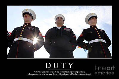 Duty Inspirational Quote Art Print by Stocktrek Images