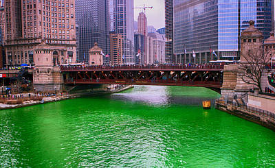 Art Print featuring the photograph Dyeing The Chicago River Green by Jerome Lynch