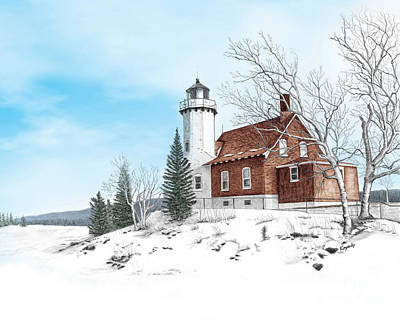 Darren Mixed Media - Eagle Harbor Lighthouse by Darren Kopecky