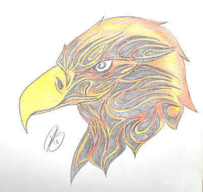 Yellow Beak Drawing - Eagle Head by Minding My  Visions by Adri and Ray