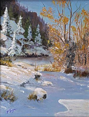 Snow Covered Pine Trees Painting - Early Snow by Bev Finger