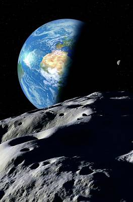 Planetoid Photograph - Earth And Asteroid by Detlev Van Ravenswaay