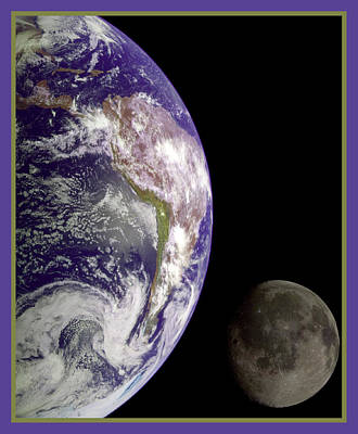 Photograph - Earth And Moon by Nasa