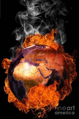 Global Warming Digital Art - Earth In Flames by Martin Capek
