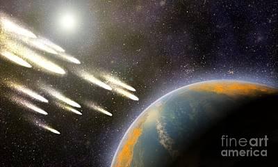 Earths Cometary Bombardment, Artwork Art Print by Equinox Graphics