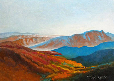 Nature Oil Painting - East Fall Blue Ridge Mountains 2 by Catherine Twomey