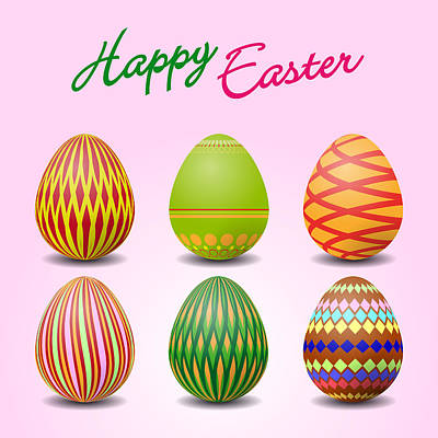 Easter Celebration Drawing - Easter Eggs by Alain De Maximy