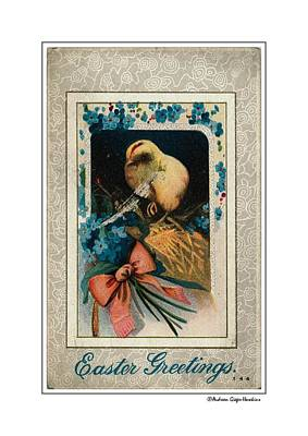Photograph - Easter Greetings 1913 Vintage Postcard by Audreen Gieger