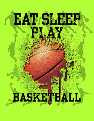 College Sports Painting - Eat Sleep Play Basketball by Jim Baldwin