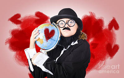 Eccentric Man Showing World Love By Cuddling Globe Print by Jorgo Photography - Wall Art Gallery