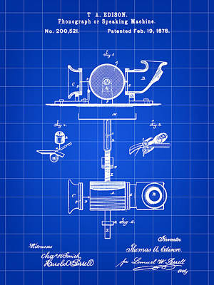Sound Digital Art - Edison Phonograph Patent 1878 - Blue by Stephen Younts