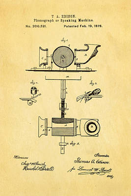 Thomas Alva Edison Photograph - Edison Phonograph Patent Art 1878 by Ian Monk
