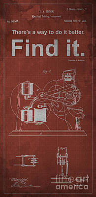 Patent Drawing - Edison Quote Electrical Printing Instrument Patent by Pablo Franchi