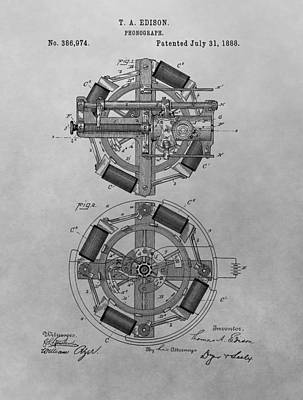 Phonograph Drawing - Edison's Phonograph Patent by Dan Sproul