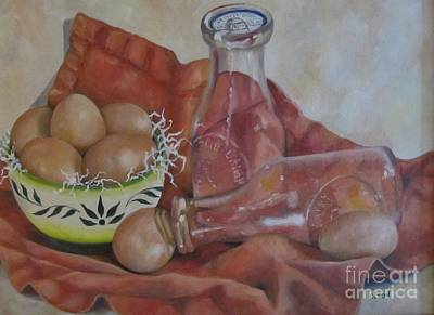 Eggs With Milk Bottles Art Print by Karen Olson