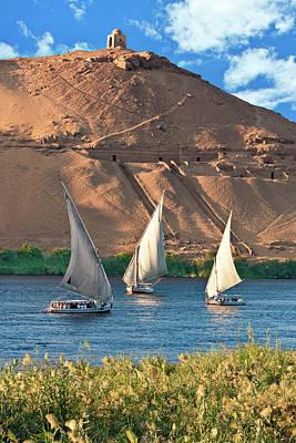 Niles Photograph - Egypt, Aswan, Nile River, Felucca by Miva Stock