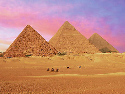 Egypt, Cairo, Giza, View Of All Three Art Print by Miva Stock