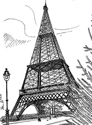 Merlot Drawing - Eiffel by Andrew Cravello