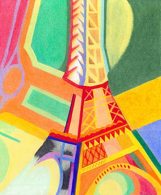 Colorful Abstract Drawing - Eiffel Tower 1 by Michael Lewis