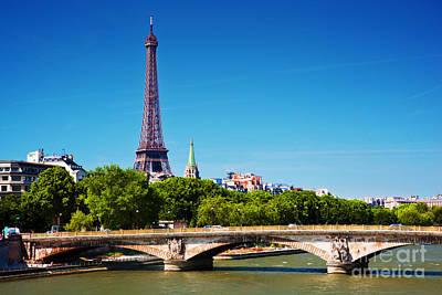 Metal Photograph - Eiffel Tower And Bridge On Seine River In Paris France by Michal Bednarek