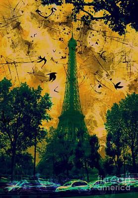 Epic Digital Art - Eiffel Tower by Marina McLain