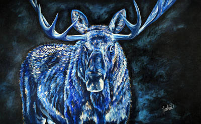 Abstract Wildlife Painting - Electric Moose by Teshia Art